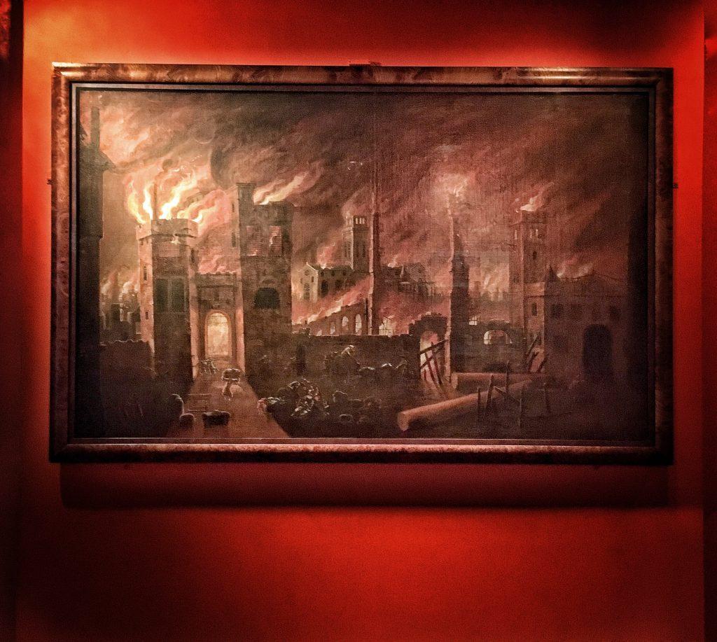 un immagine del Grande Incendio di Londra conservata al Museum of London